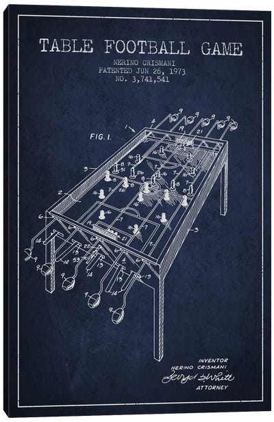 Table Football 2 Navy Blue Patent Blueprint Canvas Print #ADP173