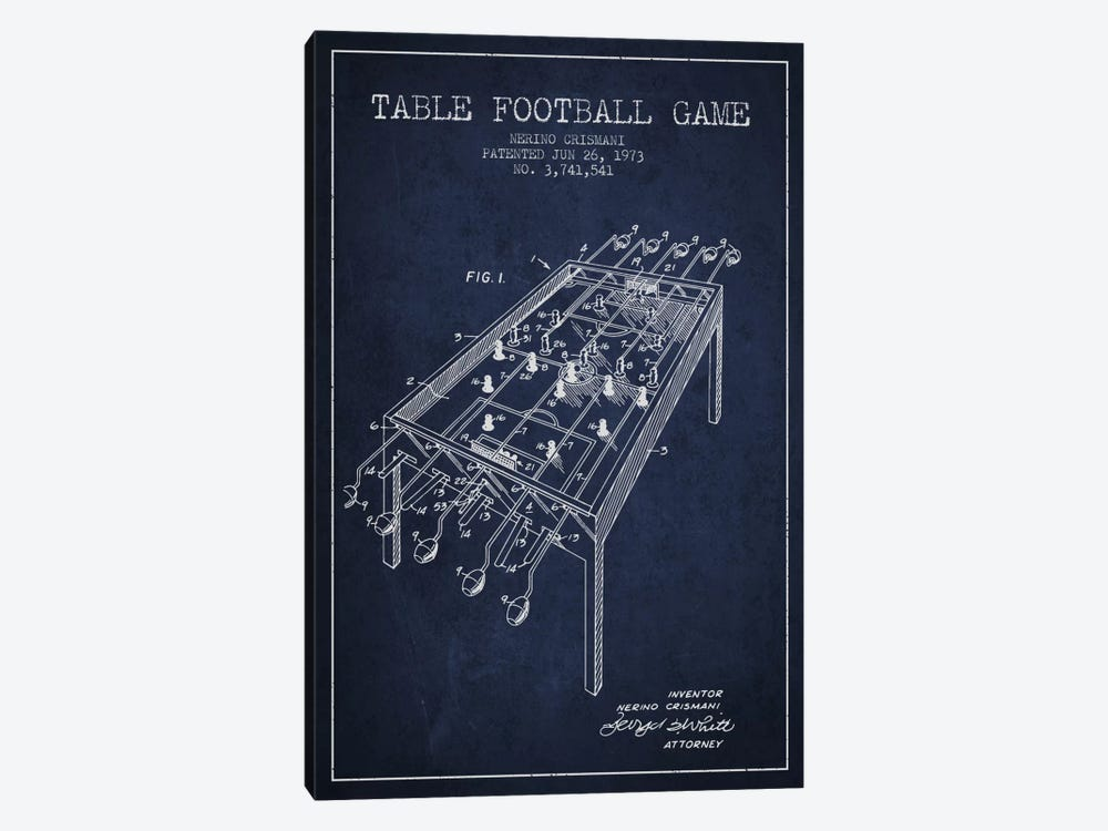 Table Football 2 Navy Blue Patent Blueprint by Aged Pixel 1-piece Canvas Artwork