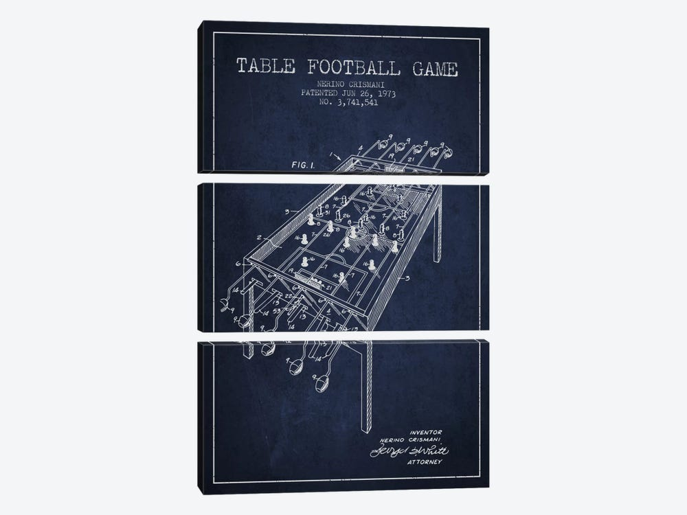 Table Football 2 Navy Blue Patent Blueprint by Aged Pixel 3-piece Canvas Art