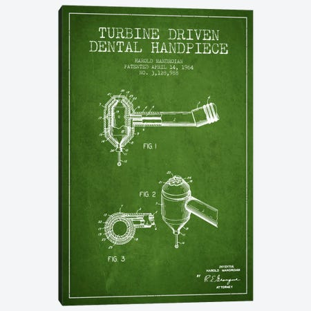 Turbine Drive Green Patent Blueprint Canvas Print #ADP1740} by Aged Pixel Canvas Print