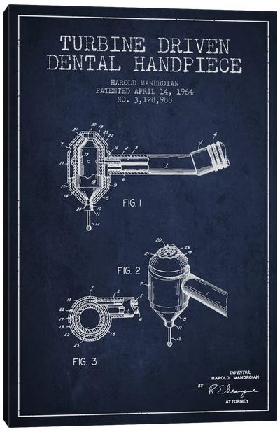 Turbine Drive Navy Blue Patent Blueprint Canvas Art Print