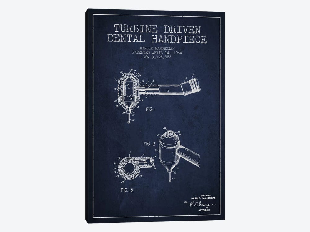 Turbine Drive Navy Blue Patent Blueprint by Aged Pixel 1-piece Canvas Wall Art