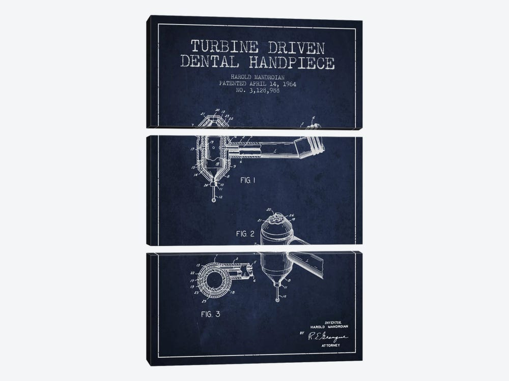 Turbine Drive Navy Blue Patent Blueprint by Aged Pixel 3-piece Canvas Art