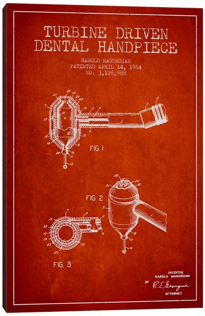 Turbine Drive Red Patent Blueprint Canvas Art Print
