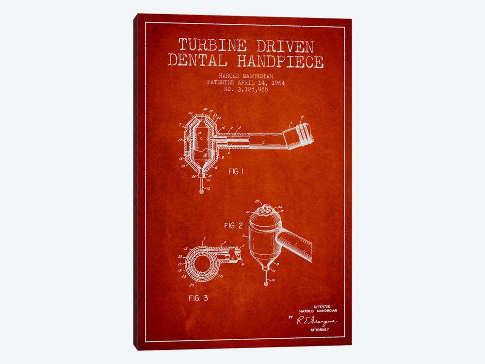 Turbine Drive Red Patent Blueprint by Aged Pixel 1-piece Art Print