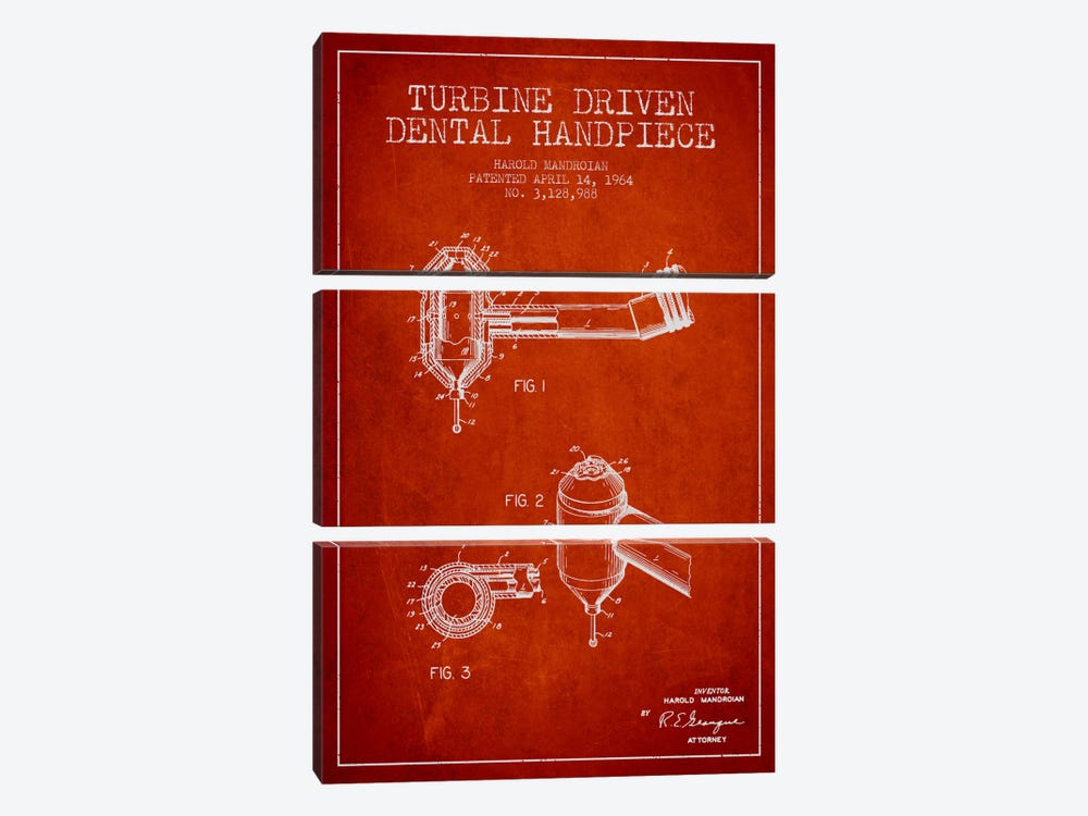 Turbine Drive Red Patent Blueprint by Aged Pixel 3-piece Canvas Art Print