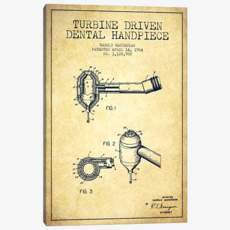Turbine Drive Vintage Patent Blueprint Canvas Print #ADP1743} by Aged Pixel Canvas Art Print