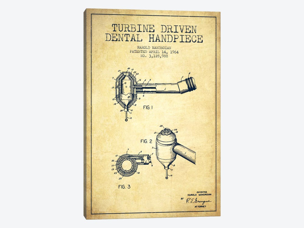 Turbine Drive Vintage Patent Blueprint by Aged Pixel 1-piece Canvas Artwork