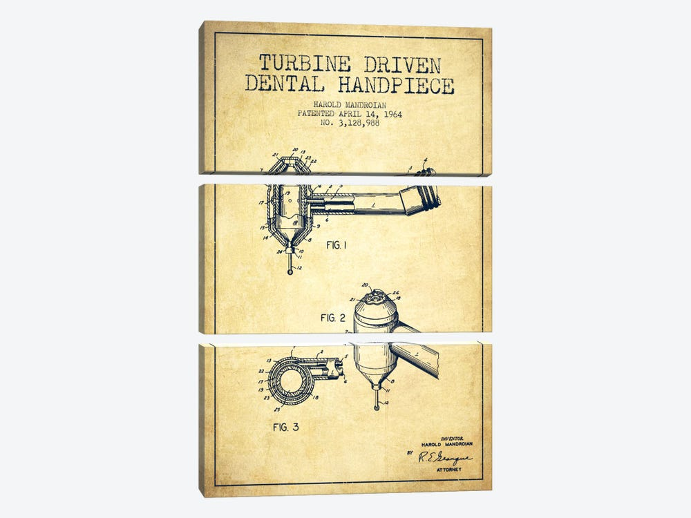 Turbine Drive Vintage Patent Blueprint by Aged Pixel 3-piece Canvas Wall Art