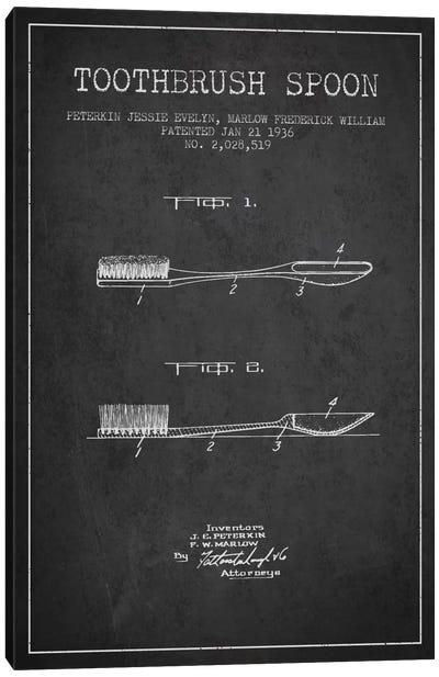 Toothbrush Spoon Charcoal Patent Blueprint Canvas Art Print