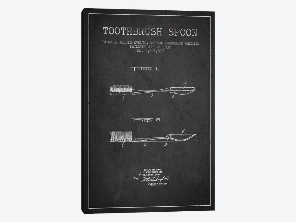 Toothbrush Spoon Charcoal Patent Blueprint by Aged Pixel 1-piece Canvas Print