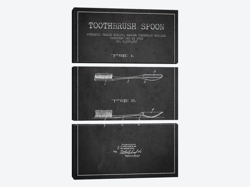 Toothbrush Spoon Charcoal Patent Blueprint by Aged Pixel 3-piece Canvas Print