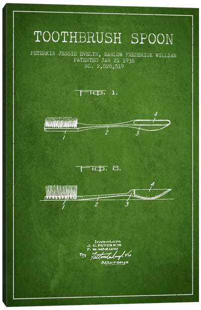 Toothbrush Spoon Green Patent Blueprint Canvas Art Print