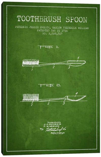 Toothbrush Spoon Green Patent Blueprint Canvas Print #ADP1745
