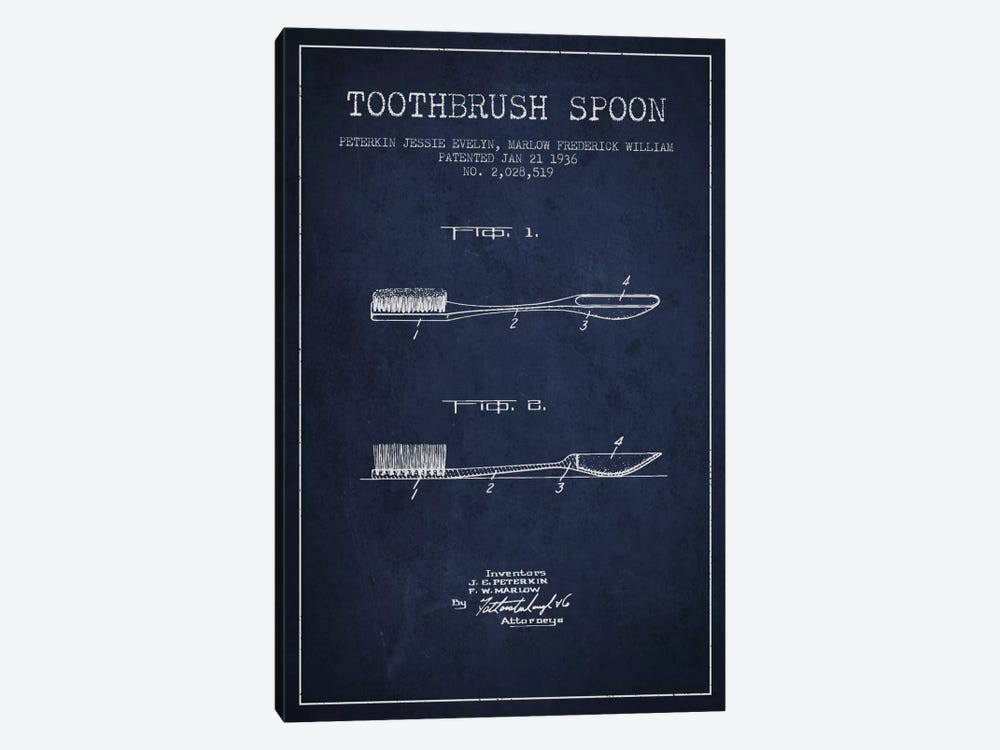 Toothbrush Spoon Navy Blue Patent Blueprint by Aged Pixel 1-piece Art Print