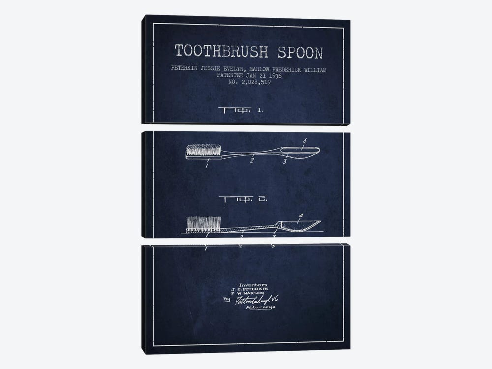 Toothbrush Spoon Navy Blue Patent Blueprint by Aged Pixel 3-piece Canvas Art Print