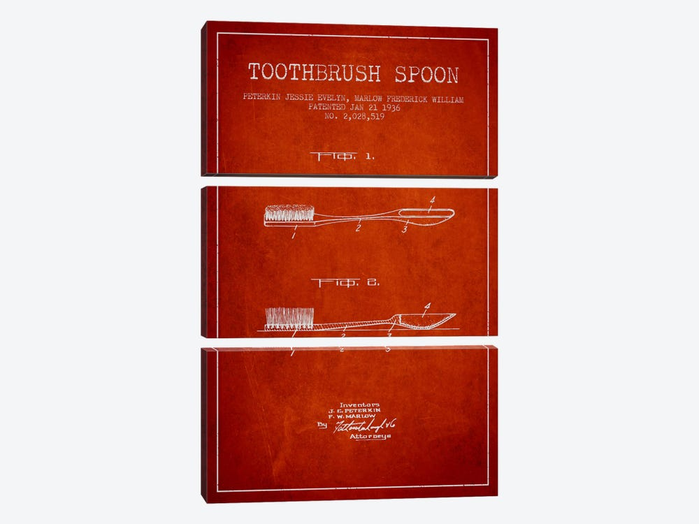 Toothbrush Spoon Red Patent Blueprint by Aged Pixel 3-piece Canvas Artwork