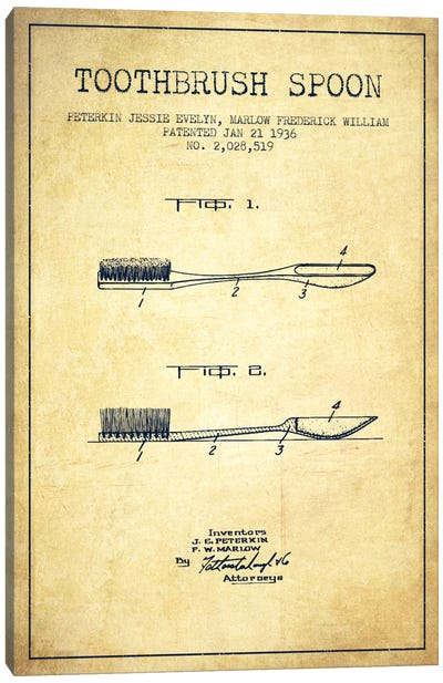 Toothbrush Spoon Vintage Patent Blueprint Canvas Print #ADP1748
