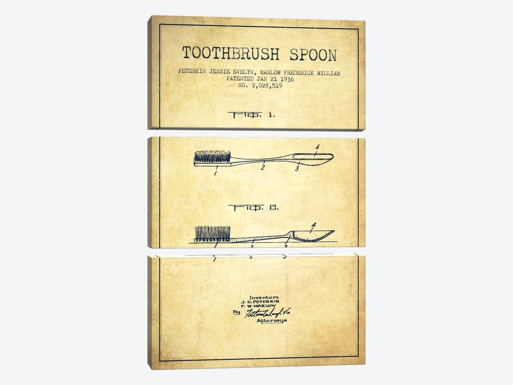 Toothbrush Spoon Vintage Patent Blueprint by Aged Pixel 3-piece Canvas Art Print
