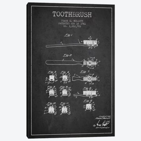 Toothbrush Charcoal Patent Blueprint Canvas Print #ADP1749} by Aged Pixel Canvas Print