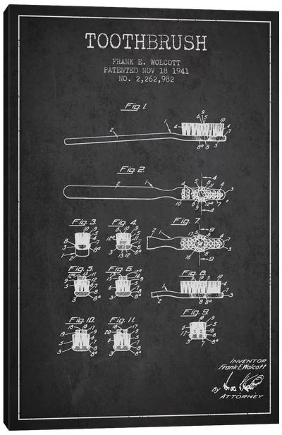 Toothbrush Charcoal Patent Blueprint Canvas Art Print