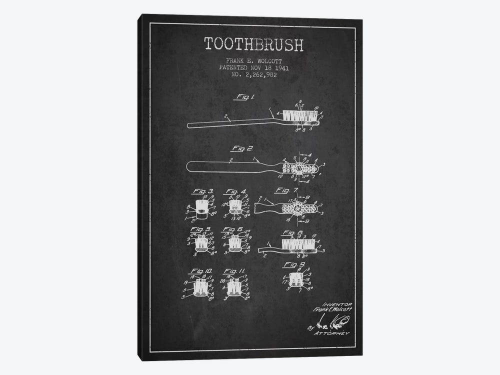 Toothbrush Charcoal Patent Blueprint by Aged Pixel 1-piece Canvas Art