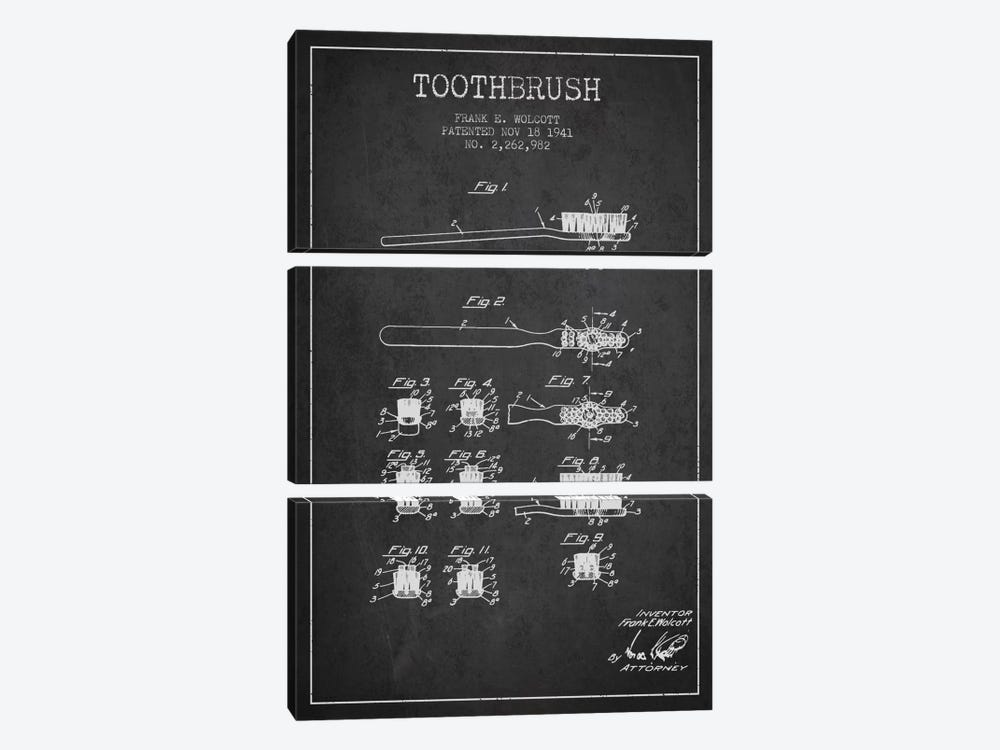 Toothbrush Charcoal Patent Blueprint by Aged Pixel 3-piece Canvas Wall Art