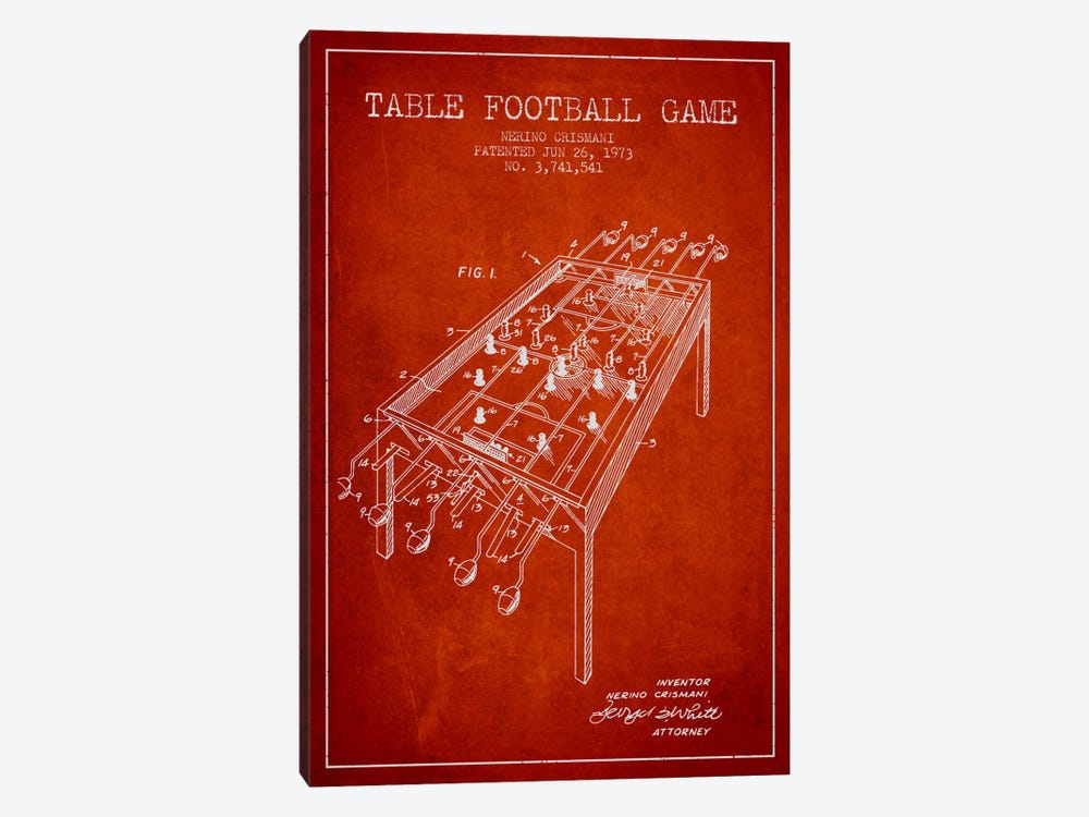 Table Football 2 Red Patent Blueprint 1-piece Art Print