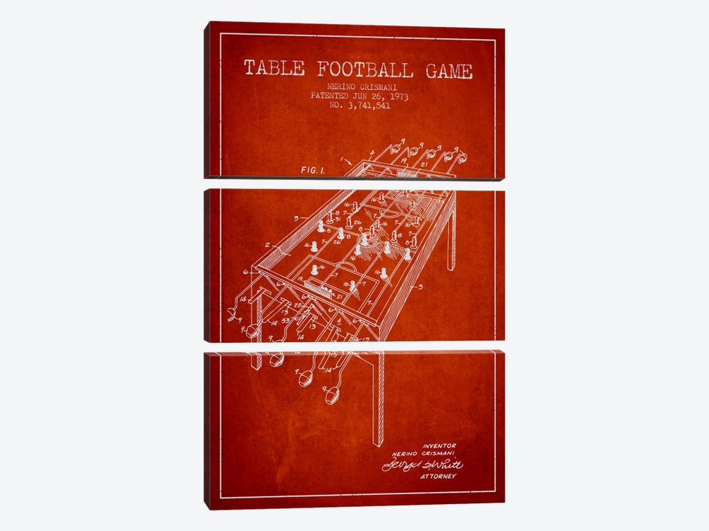 Table Football 2 Red Patent Blueprint by Aged Pixel 3-piece Canvas Art Print