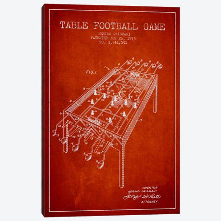 Table Football 2 Red Patent Blueprint Canvas Print #ADP174} by Aged Pixel Canvas Art