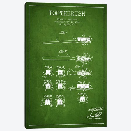 Toothbrush Green Patent Blueprint Canvas Print #ADP1750} by Aged Pixel Canvas Artwork