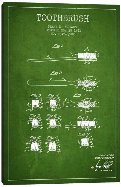Toothbrush Green Patent Blueprint Canvas Art Print