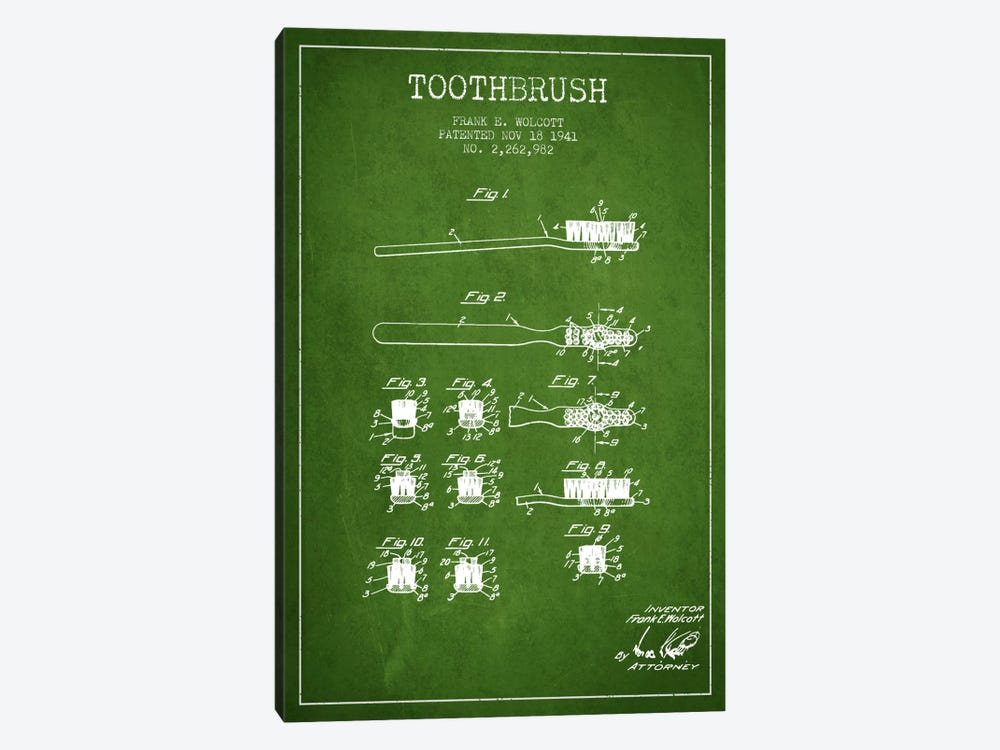 Toothbrush Green Patent Blueprint by Aged Pixel 1-piece Canvas Art