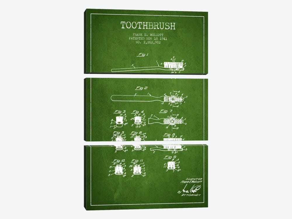 Toothbrush Green Patent Blueprint by Aged Pixel 3-piece Canvas Art