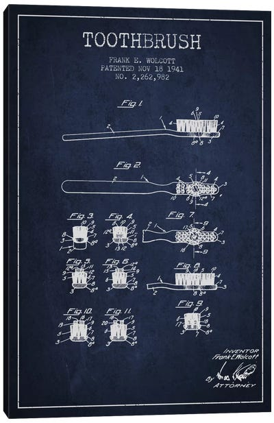 Toothbrush Navy Blue Patent Blueprint Canvas Art Print