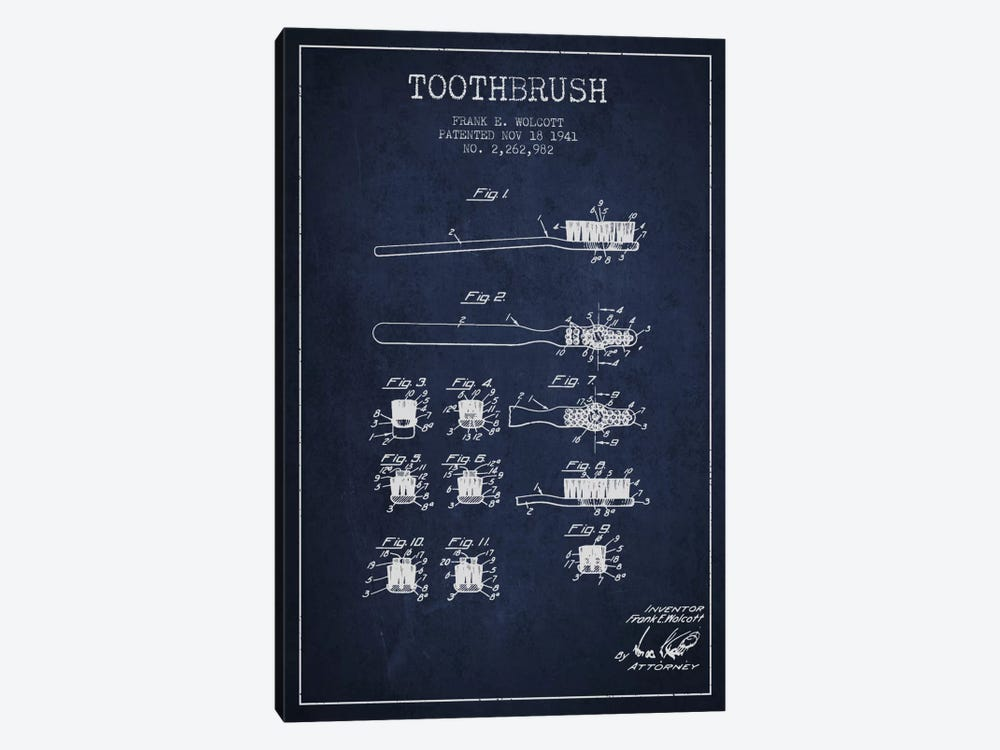 Toothbrush Navy Blue Patent Blueprint by Aged Pixel 1-piece Art Print