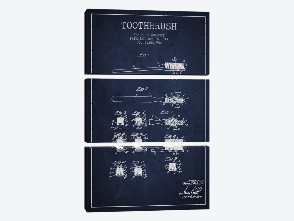 Toothbrush Navy Blue Patent Blueprint by Aged Pixel 3-piece Canvas Art Print