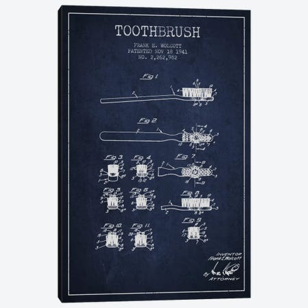 Toothbrush Navy Blue Patent Blueprint Canvas Print #ADP1751} by Aged Pixel Canvas Artwork