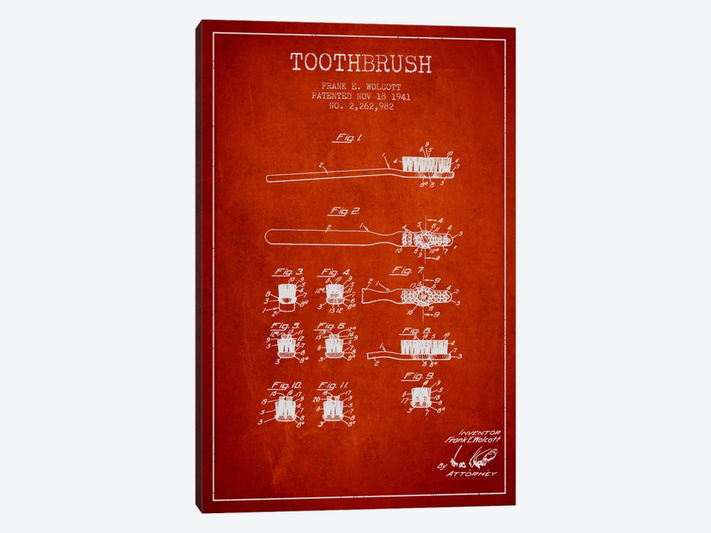Toothbrush Red Patent Blueprint by Aged Pixel 1-piece Canvas Art