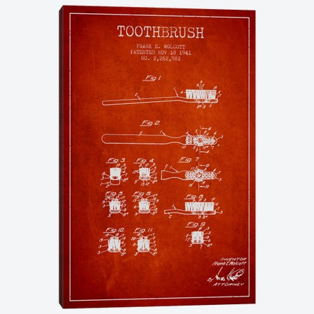 Toothbrush Red Patent Blueprint Canvas Print #ADP1752} by Aged Pixel Canvas Wall Art