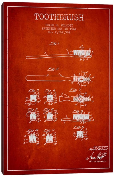 Toothbrush Red Patent Blueprint Canvas Art Print