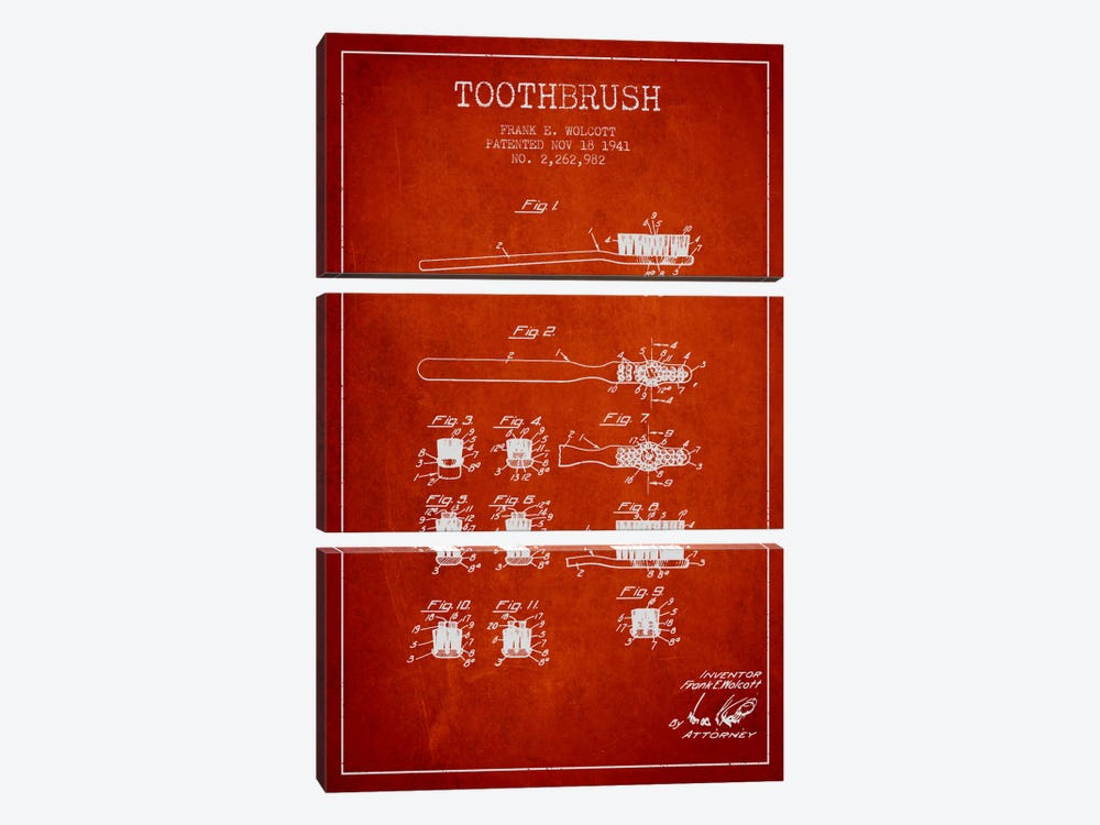 Toothbrush Red Patent Blueprint by Aged Pixel 3-piece Canvas Artwork