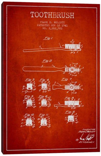 Toothbrush Red Patent Blueprint Canvas Art Print