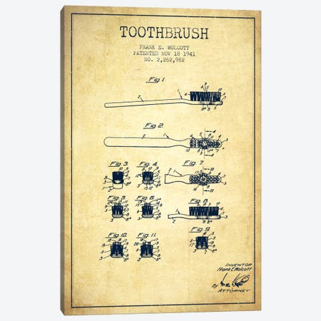 Toothbrush Vintage Patent Blueprint Canvas Print #ADP1753} by Aged Pixel Canvas Artwork