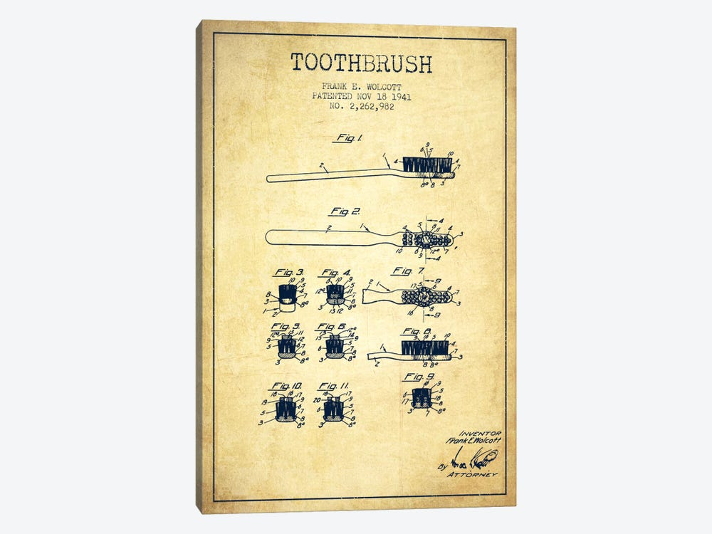 Toothbrush Vintage Patent Blueprint by Aged Pixel 1-piece Art Print