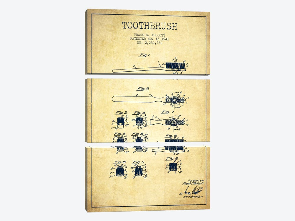Toothbrush Vintage Patent Blueprint by Aged Pixel 3-piece Art Print