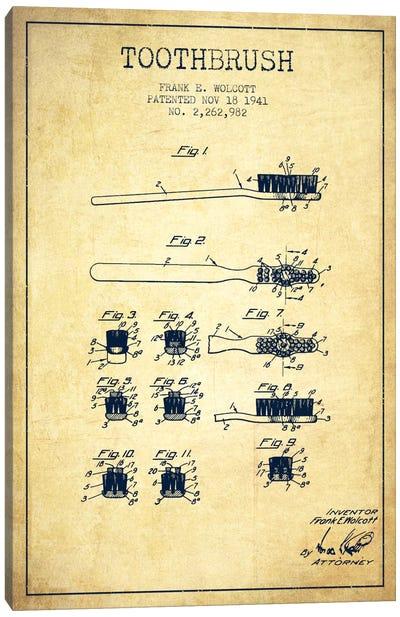 Toothbrush Vintage Patent Blueprint Canvas Art Print