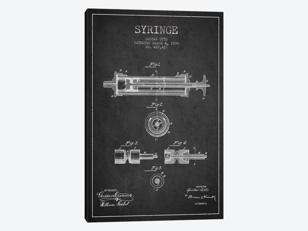 Syringe Charcoal Patent Blueprint by Aged Pixel 1-piece Canvas Artwork