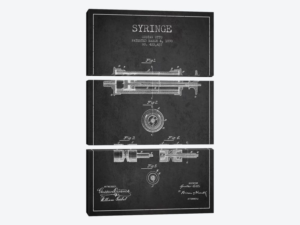 Syringe Charcoal Patent Blueprint by Aged Pixel 3-piece Canvas Artwork