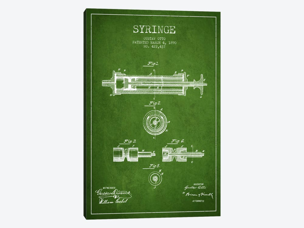 Syringe Green Patent Blueprint by Aged Pixel 1-piece Canvas Art Print
